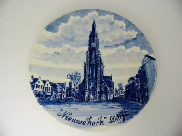 Delft Blue Plate Amsterdam Cathedral Norelco Made in Holland - ChaseyBlueVintage