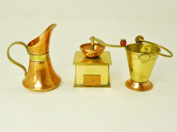 Vintage Miniature Copper and Brass Coffee Grinder Carafe Pitcher Coal Bucket - ChaseyBlueVintage