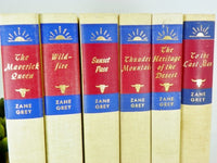 6 Zane Grey Western Hardback Books in Cream and Red Linen - ChaseyBlueVintage