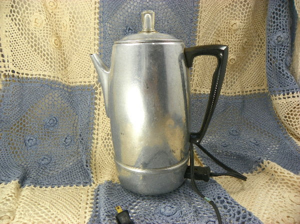 Vintage Electric Coffee Pot Percolator Aluminum by Mirro Matic - ChaseyBlueVintage