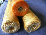 Deco Rolls of Brown Paper Mesh and 1 Accent Roll of Orange Poly Mesh - ChaseyBlueVintage