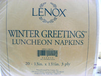 Lenox Winter Greetings Paper Napkins New Old Stock - ChaseyBlueVintage