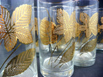 8 Classic Gold Leaf Drinking Glasses by Libby Glassware Brilliant Bold Design - ChaseyBlueVintage