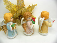 3 Darling Christmas Angel Figurines Vintage Home Interiors Musical Theme - ChaseyBlueVintage