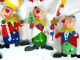 7 Wooden Clown Christmas Ornaments Vintage Holiday Decor - ChaseyBlueVintage