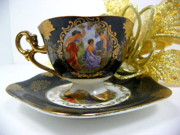 Cherub Black and Gold Tea Cup and Saucer Vintage Shafford - ChaseyBlueVintage
