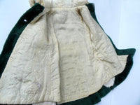 Vintage Large Doll or Little Girls Coat Forest Green with Gold Braiding - ChaseyBlueVintage