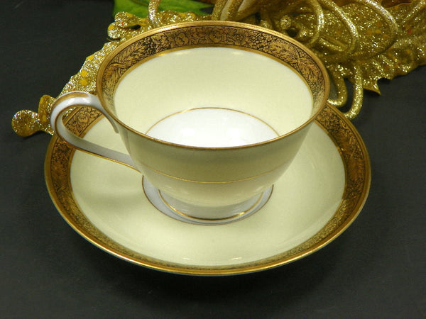 Noritake Tea Cup and Saucer Elegant Cream White Design with Gold Floral Rim - ChaseyBlueVintage