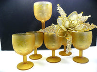 6 Frosted Amber Water Goblets Bartlet Collins Thumbprint Pedestal Glasses - ChaseyBlueVintage
