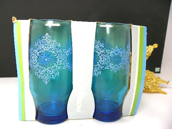 4 Vintage Blue Aqua Drinking Glasses New in Box Anchor Hocking - ChaseyBlueVintage