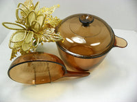 "Visions Cookware 3.5 L Dutch Oven plus 7"" Skillet Stove Top Oven Ware - ChaseyBlueVintage"
