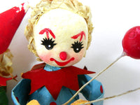 Vintage Paper Mache Clown Ornaments - ChaseyBlueVintage