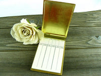 1960s Bridge Score Pad Holder Metal Flip Up Case with Scoring Sheets - ChaseyBlueVintage.com