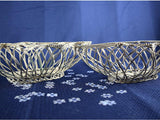 2 Vintage Silver Metal Wire Christmas Tree Baskets - ChaseyBlueVintage