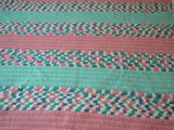Vintage Large Crocheted Afghan in Pink and Mint - ChaseyBlueVintage
