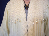 Vintage 1970s Sweater Coat Off White Pearl Beaded Mohair Wool Knee Length - ChaseyBlueVintage