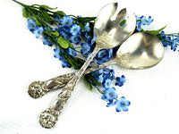 Vintage Salad Set Silver Plated Over Sized Spoon and Fork Ornate Floral Design by W A Italy - ChaseyBlueVintage