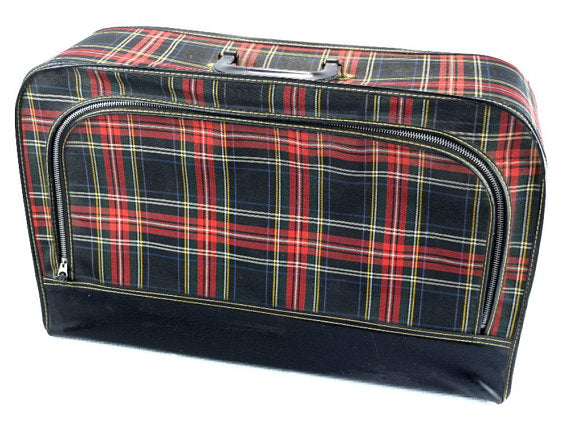 Vintage Suitcase Red and Black Plaid Soft Side Luggage - ChaseyBlueVintage