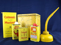 Vintage Yellow Tin Collection of 6 Old Kitchen and Garage Tins - ChaseyBlueVintage