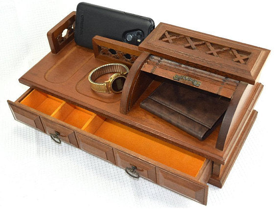 Large Mens Dresser Valet with Wallet Compartment Wood Jewelry Box Caddy - ChaseyBlueVintage