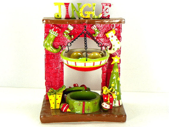 Jingle Fireplace Christmas Decoration Home Interiors Holiday Table Top Decor - ChaseyBlueVintage