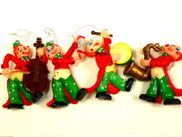 4 Blow Mold Musical Clown Ornaments Christmas Mid Century - ChaseyBlueVintage