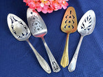 4 Vintage Reticulated Cake Servers Mismatched Buffet Serving Utensils - ChaseyBlueVintage