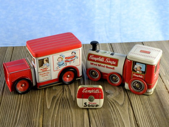 Vintage Campbell's Soup Tins Train Engine Truck and Pill Tin - ChaseyBlueVintage