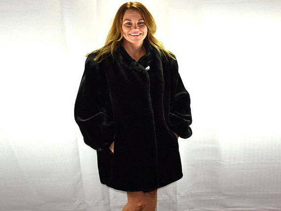 Vintage Black Soft Vegan Faux Fur Coat by Jordache Size XL