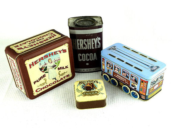4 Vintage Hershey's Cocoa Tins Collectible Tin Containers - ChaseyBlueVintage