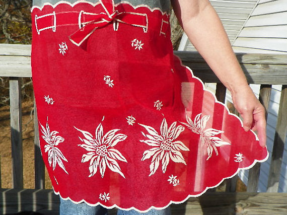 White Poinsettias Apron in Christmas Red Chiffon Holiday Hosting - ChaseyBlueVintage