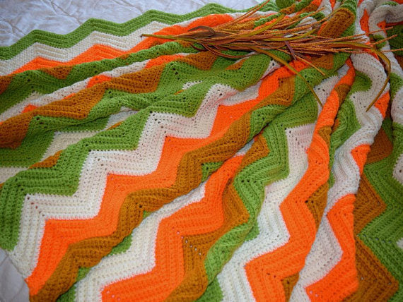Beautiful Large Crocheted Afghan Hunter Orange Vintage ZigZag Design - ChaseyBlueVintage