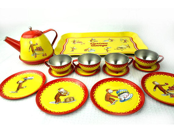 Retro Curious George Tea Set Tray Teapot Plates Cups and Saucers - ChaseyBlueVintage