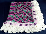 Vintage Violet and Teal Handmade Afghan Unique Pom Pom and White Crocheted Edging - Chaseybluevintage