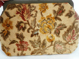 60's Chenille Purse Handbag Fashion Fall Leaves in Brown and Gold - ChaseyBlueVintage