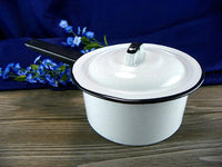 Vintage Enamel Double Boiler Cookware with Black Rims Set 3 Pots in 1 - ChaseyBlueVintage