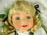 "Vintage 16"" Porcelain Doll Blonde Hair Green Eyes In Original Box- ChaseyBlueVintage"