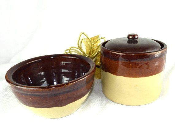Vintage Stoneware Crocks Brown Glazed Rim Your Choice Bowl or Bean Pot with Lid - ChaseyBlueVintage