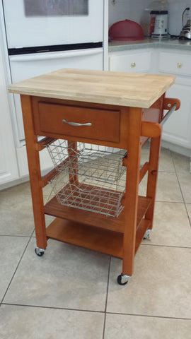 Wooden complete and functional Kitchen Cart w basket New!