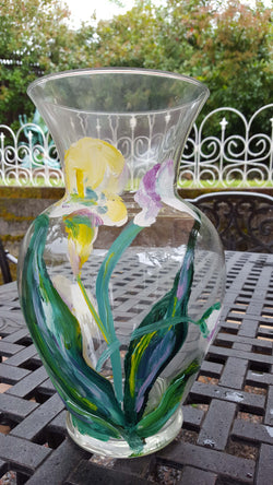 Original Artist hand painted Glass Vase