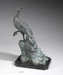 Antiqued Green Bronze Peacock statue sculpture figurine art