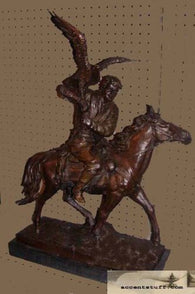 Bronze Falconer on Horse Statue