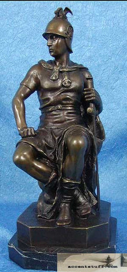 Solid Bronze seated Knight Statue Sculpture Marble Art