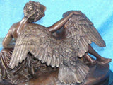 48 Lbs Bronze Reclining Nude Woman & Swan Statue Marble