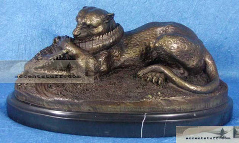Heavy Bronze Leopard Statue Fighting Alligator on Marble