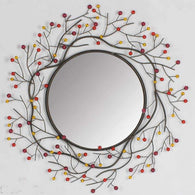 Multi-colored branch inspired round metallic decorative wall mirror