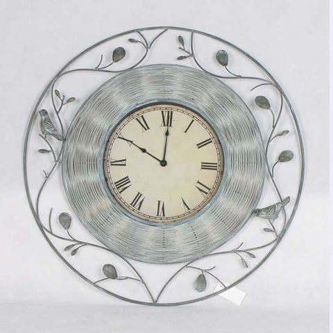 Rustic green and ivory colored swiveled floral round art décor wall clock