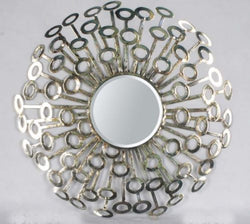 Sun Burst Metal Framed Decorative Round Wall Art Mirror