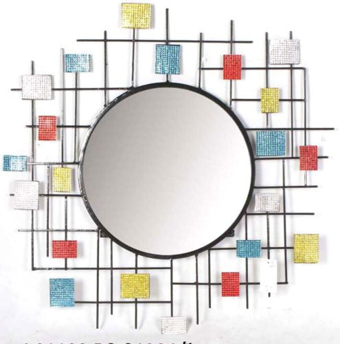 Multi-Colored Geometric Patterned Round Metal Wall Decor Mirror