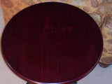 Wooden dark walnut round top end table lamp table